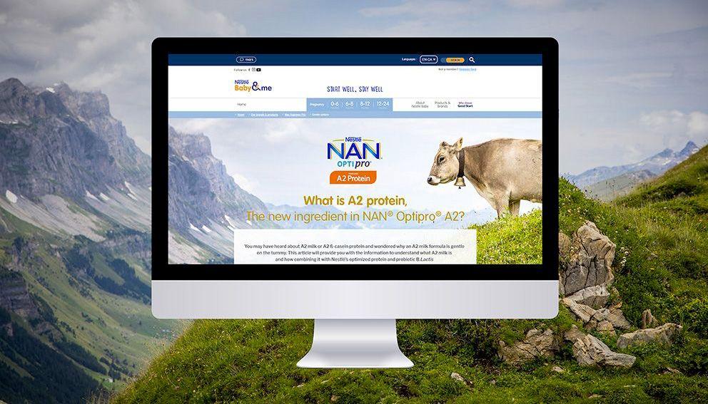 Présentation accueil site web Nestlé