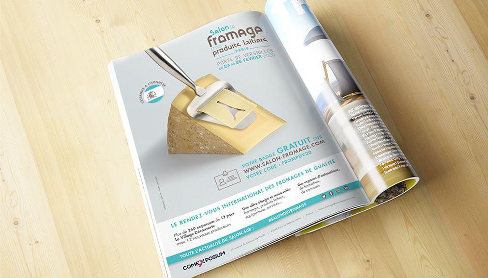 Page magazine avec publicité pour salon du fromage